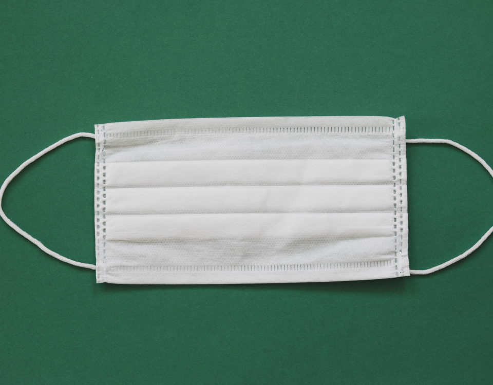 White surgical mask lying flat on a green background.