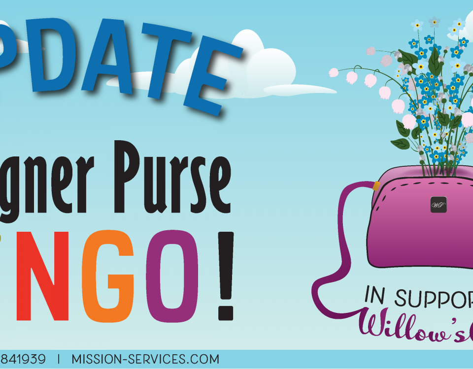 "A cartoon graphic of a purple purse with wildflowers sprouting of it against a blue sky with white clouds. Large block text reads: ""UPDATE: Designer Purse Bingo, in support of Willow's Place."""